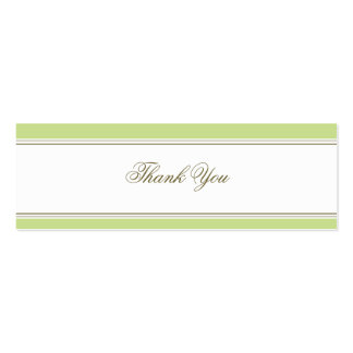Simple Stripe Spring Green Favor Gift Tag Double-Sided Mini Business Cards (Pack Of 20)
