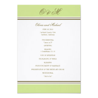 Simple Stripe Spring Green Wedding Program