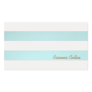 Simple Striped Light Turquoise Blue Groupon Double-Sided Standard Business Cards (Pack Of 100)