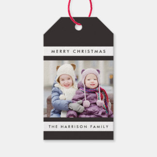 Simple Stripes Photo Holiday Gift Tags