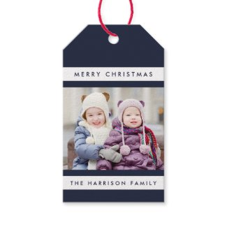 Simple Stripes Photo Holiday Gift Tags / Navy