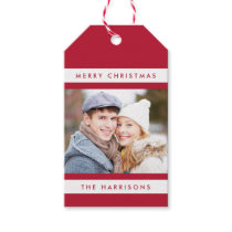 Simple Stripes Photo Holiday Gift Tags / Red