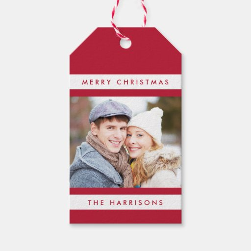 Simple Stripes Photo Holiday Gift Tags / Red Pack Of Gift Tags