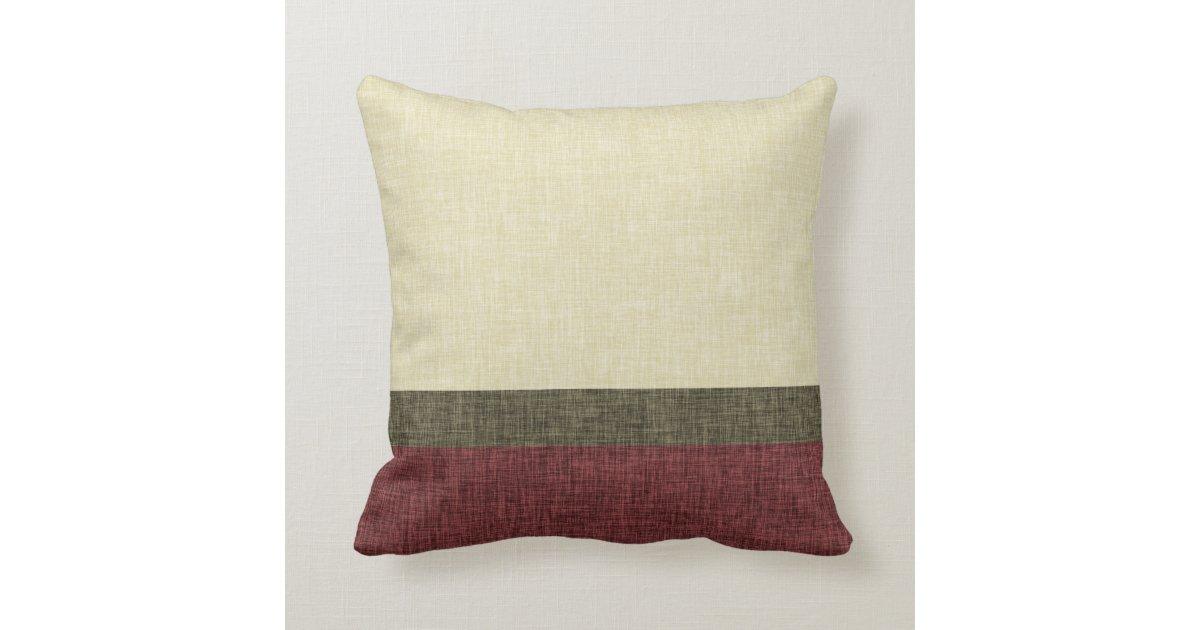 Burgundy Green Throw Pillows : Simple Stripes Weave Texture Khaki Green Burgundy Throw Pillow Zazzle