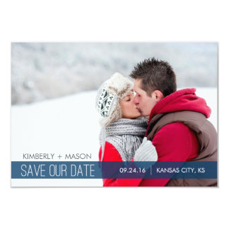 "Simple Stripes Wedding Save the Date Mini Invite 3.5"" X 5"" Invitation Card"