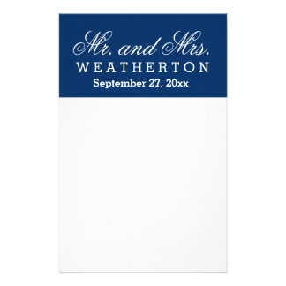 Simple Style Mr. and Mrs. Wedding Names Date A26 Stationery