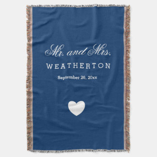Simple Style Mr. and Mrs. Wedding Names Date A30 Throw Blanket