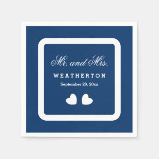 Simple Style Mr. and Mrs. Wedding Names Date A46C Napkin