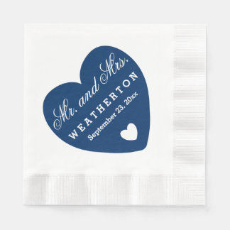 Simple Style Mr. and Mrs. Wedding Names Date A46D Paper Napkin