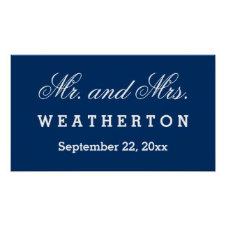 Simple Style Mr. and Mrs. Wedding Names Date A47A Poster