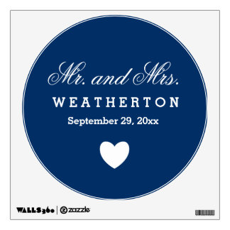 Simple Style Mr. and Mrs. Wedding Names Date A57 Wall Sticker