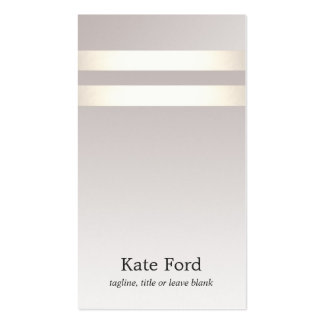 Simple Stylish Faux Light Gold Striped Taupe Ombre Business Card