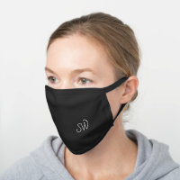 Simple Stylish Initials Black Cotton Face Mask