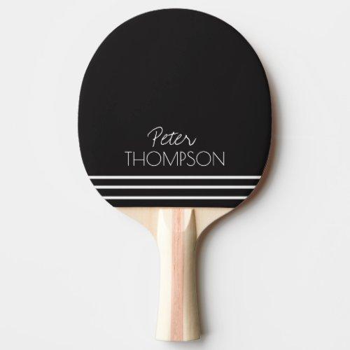 simple & stylish monogram on black Ping-Pong paddle
