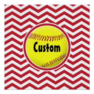 Simple Stylish Red & White Softball Custom Poster