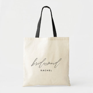 Simple Stylish Script Bridesmaid Personalized Name Tote Bag