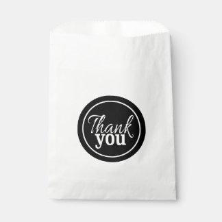 Simple Stylish Script Thank You Black White Favor Bags