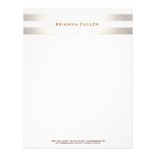 Simple Stylish Striped Faux Silver Elegant 2 Letterhead at Zazzle