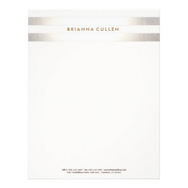 Simple Stylish Striped FAUX Silver Elegant 2 Letterhead