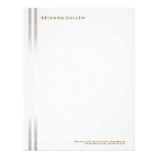 Simple Stylish Striped FAUX Silver Elegant 2 Letterhead