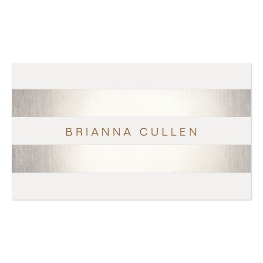 Simple Stylish Striped Silver Metallic Elegant Business Card Template (front side)