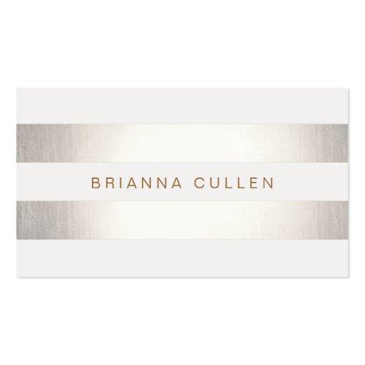 Simple Stylish Striped Silver Metallic Elegant Business Card Template