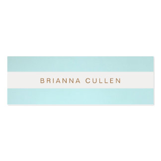 Simple Stylish Striped Turquoise Blue Elegant Double-Sided Mini Business Cards (Pack Of 20)