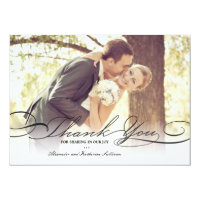 Simple Stylish Thank You Script Wedding Photo Card