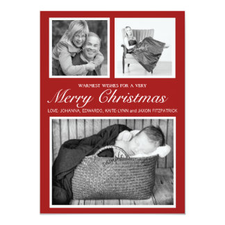 Simple Stylish Triple Photo Red Merry Christmas Card