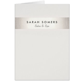 Simple Stylish White Modern FAUX Silver Striped Card