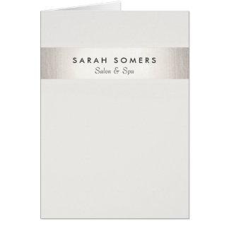 Simple Stylish White Modern FAUX Silver Striped Card