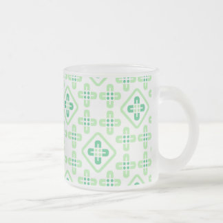 Simple Stylistic Vector Flowers Pattern Frosted Glass Coffee Mug