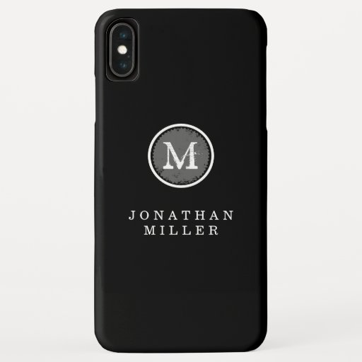 Simple Stylized Black & White Monogram Medallion iPhone XS Max Case