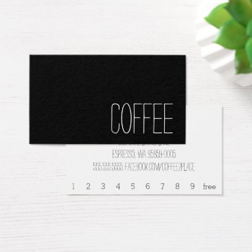 coffeepunch Simple Stymie Word Dark Loyalty Coffee Punch-Card Business Card