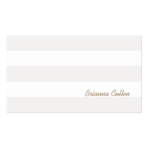 Simple Subtle Stripes Elegant White Business Card