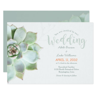 Simple Succulent Country Wedding Card