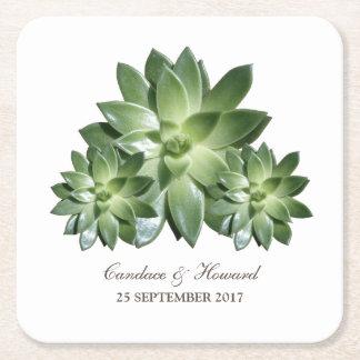 Simple Succulent Wedding Paper Coasters