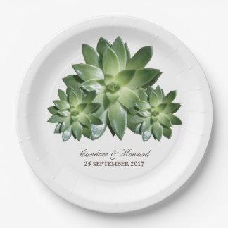 Simple Succulent Wedding Paper Plates
