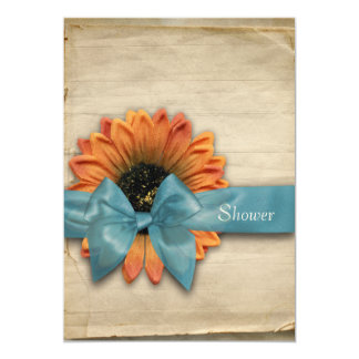 Simple Sunflower Natural Organic Bridal Shower 5x7 Paper Invitation Card