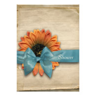 Simple Sunflower Natural Organic Bridal Shower Announcements
