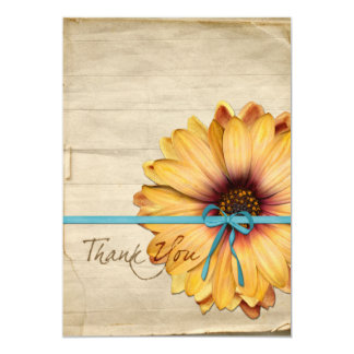 Simple Sunflower Natural Organic Thank You Invite