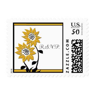 Simple Sunflowers Wedding RSVP Postage