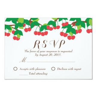 Simple Sweet Cherries Wedding RSVP Card