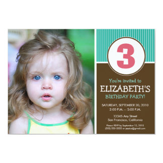 Simple & Sweet Chocolate/Aqua Birthday Invite
