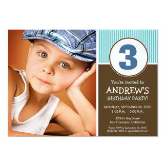 Simple & Sweet Chocolate/Blue Birthday Invite