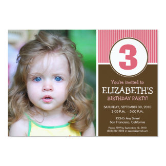 Simple & Sweet Chocolate/Pink Birthday Invite
