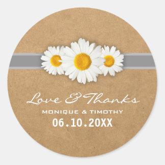Simple Sweet Daisy Wedding Seal Sticker Thank You