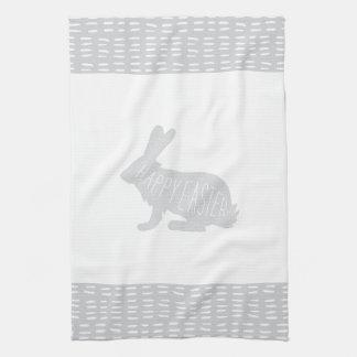 Simple, Sweet Gray Easter Bunny Rabbit Kitchen Hand Towel