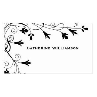 Simple Swirl Black White Floral Vine Border Business Card