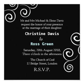 """Simple swirls personalized wedding invitation 5.25"""" square invitation card"""